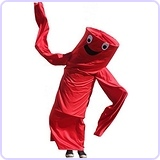 Wacky Waving Arm Flailing Tube Dancer Costume - Red Rumba - Red