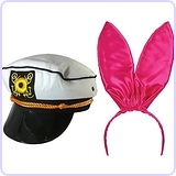 Yacht Hat Bunny Ears The Hefner And Bunny Couples Costume Accessory Bundle