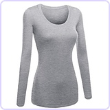 Women's Plain Basic Scoop Neck Long Sleeve Tshirt