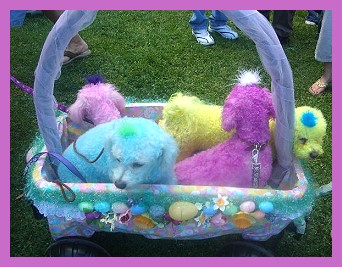Easter puppies. Colored dogs in a basket