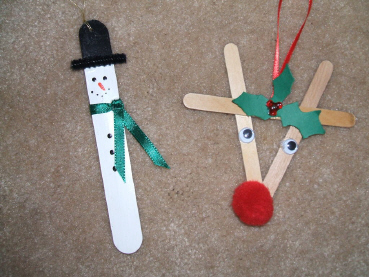 Homemade Craft Stick Christmas Tree Decorations