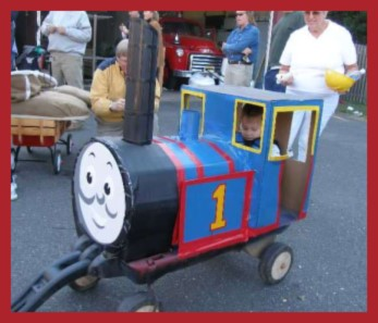 Thomas the Train Halloween Costume made of Cardboard